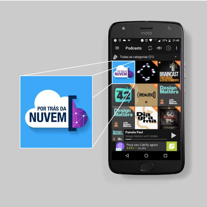 image of a cell phone screen highlighting the Por Trás da Nuvem [Behind the Cloud] podcast in the foreground