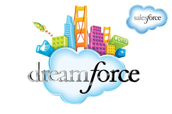 image of the Dreamforce 2013 logo – cloud supporting various colorful buildings